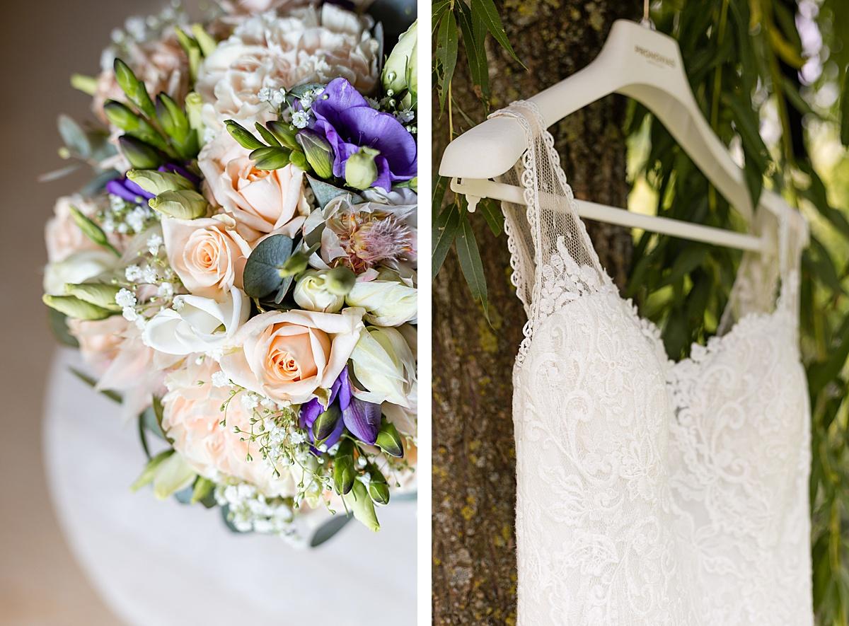 photo de bouquet et robe de mariée